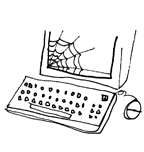 stick figure computer with a cobweb over the bottom left of the screen